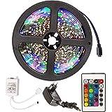 TecTake 5m RGB SMD 3528 LED Stripe Lichterkette Mehrfarbig inkl. Fernbedienung & Netzteil - Diverse Mengen - (1 Stück | Nr. 401450)