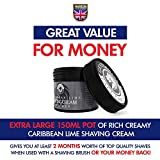 Lime Shaving Cream - Luxury Shave Cream From Gentlemans Face Care Club - Large 90 Day Supply 150ml Pot + 100% Money Back Guarantee (Caribbean Lime)