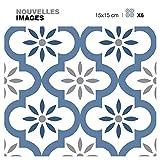 Draeger - Carrelage Adhésif Mural - Stickers Carrelage pour redécorer facilement votre intérieur - Lot de 6 Carrés Adhésifs motif oriental bleu 15 x 15 cm