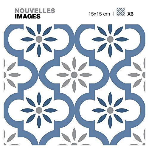 DRAEGER PARIS 1886 Dräger - Selbstklebende Wandfliesen - Fliesenaufkleber zur einfachen Renovierung Ihres Innenraums - Set mit 6 selbstklebenden Fliesen Orientalisches blaues Muster 15 x 15 cm
