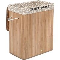 SONGMICS Cesto para ropa sucia Cesto para la colada ropa Forma rectangular Cubo para ropa sucia Capacidad de 100 L Color de bambú LCB62Y