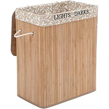 SONGMICS Groß 100L Bambus Faltbar Wäschekorb Wäschebox Wäschetruhe Wäschekiste Wäschetonne mit Deckel Wäschesammler Bodenkorb mit 2 Fächern 3 Griffe LCB65Y