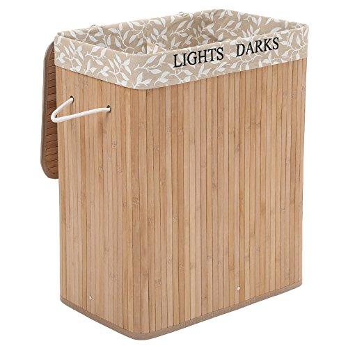 Songmics   Cesto para la colada con 2 compartimentos (100 L, bambú, plegable, con 3 asas) LCB65Y
