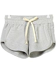 V-SOL Por Estar En Casa Deporte Yoga Running Pantalones Cortos Pants Shorts De Mujer Algodón (Gris, S)
