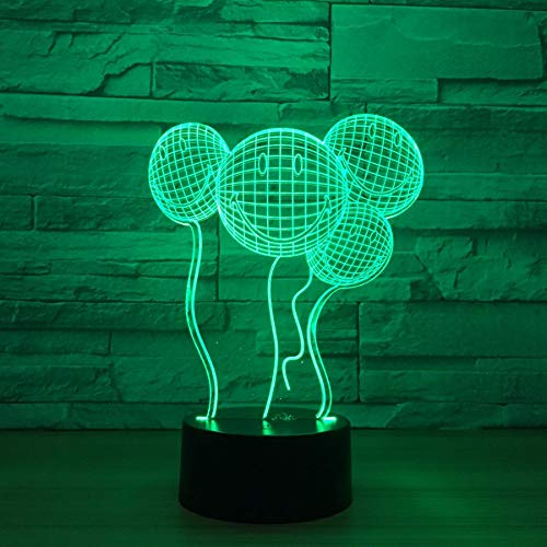3D Nachtlicht Neue Ausgefallene Geschenke Kreative Lächelnd 3D Leuchten Luftballons Led Lichter Musik Nachtlichter Großhandel Kinder Lampe