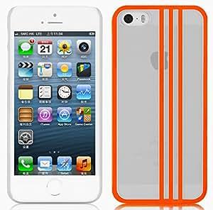 JAMMYLIZARD [ iPhone 5 / 5S and iPhone SE Case ] Transparent Hard Back Cover, Neon Orange Stripes