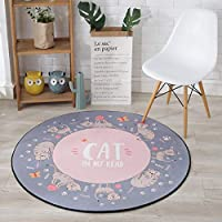 Alfombra de baño antideslizante FurnitureAndDecor Alfombra redonda de dibujos animados para niños Sala de estar dormitorio