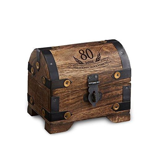 Geld-Schatztruhe zum 80. Geburtstag mit Gravur - Klein - Dunkel - Bauernkasse - Schmuckkästchen - Spardose - Aufbewahrungsbox aus Holz - lustige und originelle Geburtstagsgeschenk-Idee - 10 cm x 7 cm x 8,5 cm (Schatz-truhe-aufbewahrungsbox)
