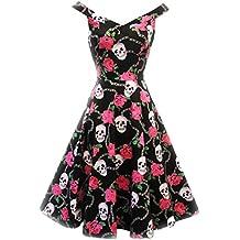 Impresionante 1950Retro Calaveras 'n 'roses Hot Rockin Psychobilly Vestido de H & R