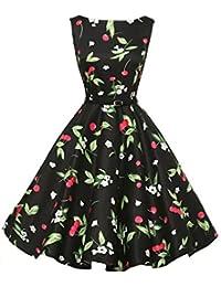 4da9c031a54e67 Lenfesh Damen Ärmellos 1950er Vintage Elegant Audrey Hepburn Blumen Abendkleid  Rockabilly Cocktailkleid Mit…