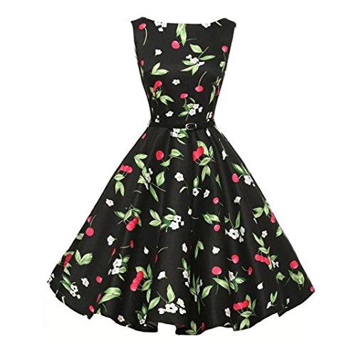 Lenfesh Damen Ärmellos 1950er Vintage Elegant Audrey Hepburn Blumen Abendkleid Rockabilly Cocktailkleid Mit Gürtel (S, ()
