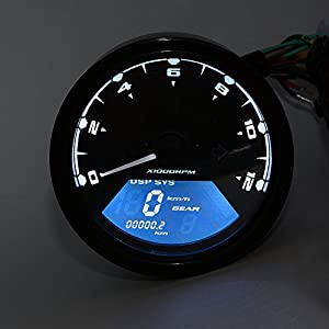 Samoleus 199 km/h LCD Digital Velocímetro Tacómetro Cuentakilómetros 12000 rpm Motocicleta mph / kmh para moto motor 1-4 cilindros