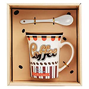 Tuelip Ceramic Mug with Spoon for Tea & Coffee Printed Mug (Multi Design Mug) 270 ml
