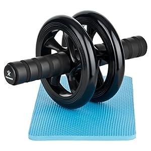 BODYMATE AB Rodillo clásico negro I Rodillo para entrenamiento de abdomen con almohadilla para rodillas I Mangos cómodos I Rodillo para ejercicios abdominales