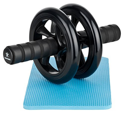 BODYMATE Abdominal exercise roller - Classic black - Dual wheel with foam handles - Includes extra thick knee pad - Ab wheel