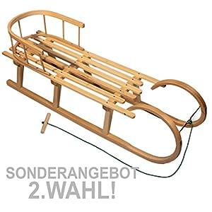 BambiniWelt24 BAMBINIWELT Holzschlitten/Hörnerrodel mit RÜCKENLEHNE und Zugleine, aus Buchenholz, Kinderschlitten, 120cm (2.Wahl)