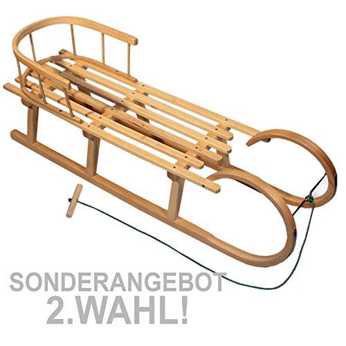 BAMBINIWELT Holzschlitten/Hörnerrodel mit RÜCKENLEHNE und Zugleine, aus Buchenholz, Kinderschlitten, 120cm (2.WAHL)