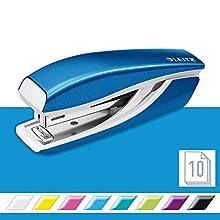 Leitz Mini Stapler, 10 Sheet Capacity, Ergonomic Metal Body, Includes Staples, WOW Range, 55281036 - Metallic Blue