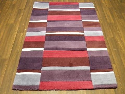 Indian Hand Tufted Textured 100% Wool Rug 90cm x 150cm Purple Modern Design Top Quality Rug