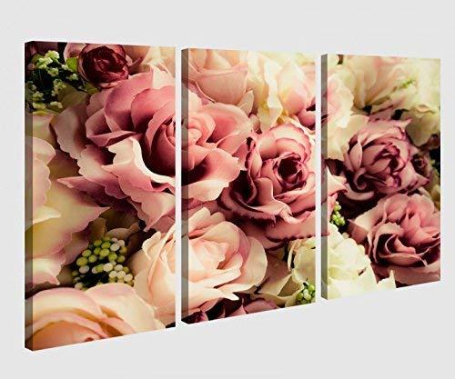 Leinwandbild 3 tlg Blume Blumen Muster Rosen braun weiss Vintage Hintergrund Bild Bilder Leinwand Leinwandbilder Holz Wandbild mehrteilig 9W046, 3 tlg BxH:120x80cm (3Stk 40x 80cm)