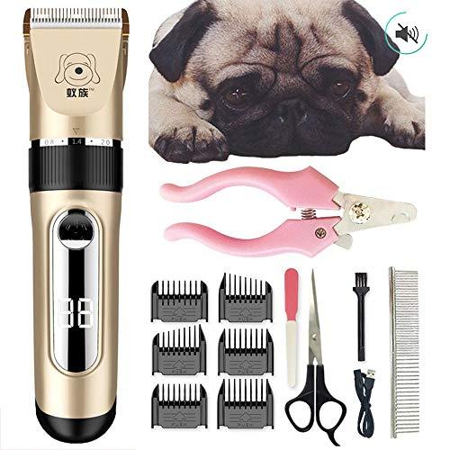 WEIDAOCHINA Professionelle kabellose Haarschneidemaschine für Hunde. Hundepflege-Kit. Geräuscharm + 6-Grenzkamm, Lange Standby-Zeit