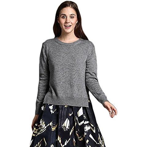 DRESHOW Scoop Neck Loose Pullover Sweater Split