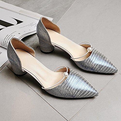Dimaol Femmes Pu Chaussures Automne Hiver Confort Chunky Talons Fermé Orteil Perle Pour En Plein Air Occasionnel Amande Argent Noir Argent
