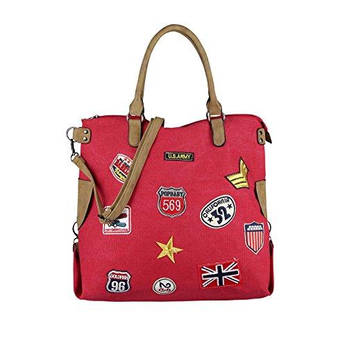 OBC DAMEN MILITARY TASCHE Shopper Camouflage Patches Handtasche Canvas Schultertasche Umhängetasche Army Damentasche Sticker Reisetasche Beuteltasche DIN-A4 Army-Grün Rot