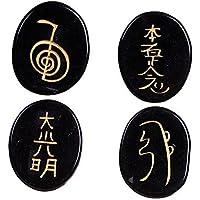 Heilung Kristalle Indien: Schwarz Obsidian 4Gravur Chakra Stone Palm Stone Kristall Reiki Symbols preisvergleich bei billige-tabletten.eu