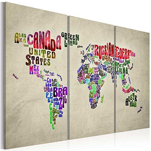 Murando - quadro 120x80 cm - 3 parti - quadro su tela fliselina - stampa in qualita fotografica - mappa del mondo 020113-26