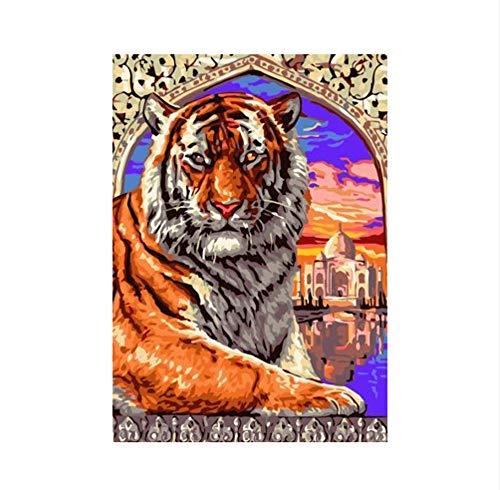 zxfcczxf Rahmenlose Abstrakte Tier König Der Gnade DIY Färbung Ölgemälde Durch Zahlen Kits Zeichnung Malen Auf Leinwand Für Wandkunst Bild -