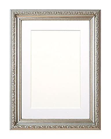 Mounted Ornate Shabby Chic Picture/Photo/Poster frame - With an MDF backing board – Silver Frame with White Mount- 9