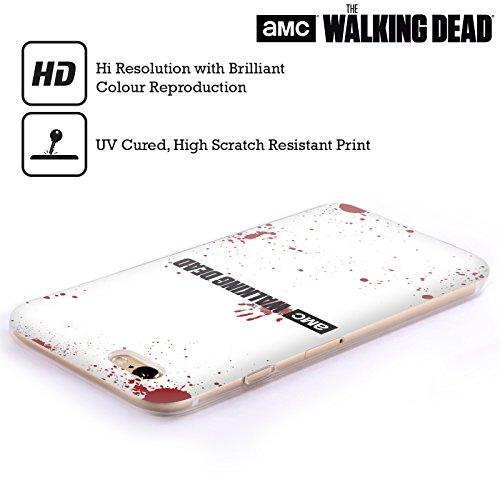 Offizielle AMC The Walking Dead Weiss Logo Soft Gel Hülle für Apple iPhone 6 / 6s Weisses Blut