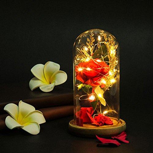 e] Beauty und The Beast Rose/Lilie–Rote Rosen Künstliche Blumen LED-Licht mit Fallen Petals in Glaskuppel auf einen hölzernen Basis für Hochzeit Valentinstag Jahrestag Geburtstag rose (Die Schöne Und Das Biest Party Supplies)