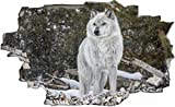 DesFoli Wolf Weiß 3D Look Wandtattoo 70 x 115 cm Wanddurchbruch Wandbild Sticker Aufkleber C148