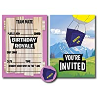 12 x Fort Building Battle Style Birthday Royale Party Invitations, Stickers & Blue Envelopes - Gamer/Gaming/Computer Game (Invitations, Stickers & Envelopes)