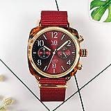 Cuarzo Watchparagraph Reloj de Lona Rojo Marca de Moda con Marea con Reloj de Cuarzo para Mujer Reloj Rojo Vino