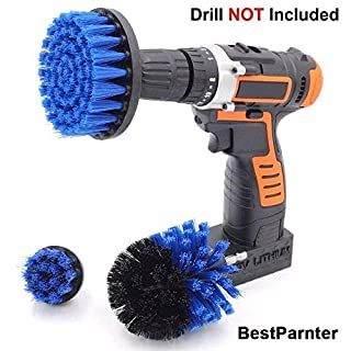 BestParnter Drillbrush 3Pcs Scrub Brush Drill Attachment Kit,Time Saving Kit And Power Scrubber Cleaning Kit, For Car, Bathroom, Wooden Floor, Laundry Room Cleaning (Blue)
