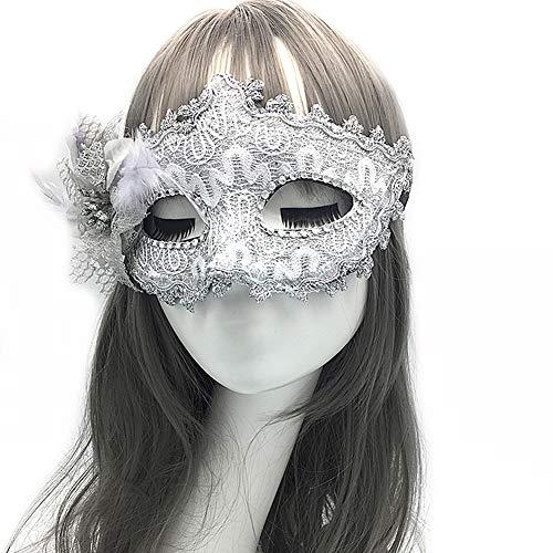 Yazilind Masquerade Maske Venezianische Maske Maskenball Masken Karneval Party Ball Gesicht Augenmaske(Weiß)