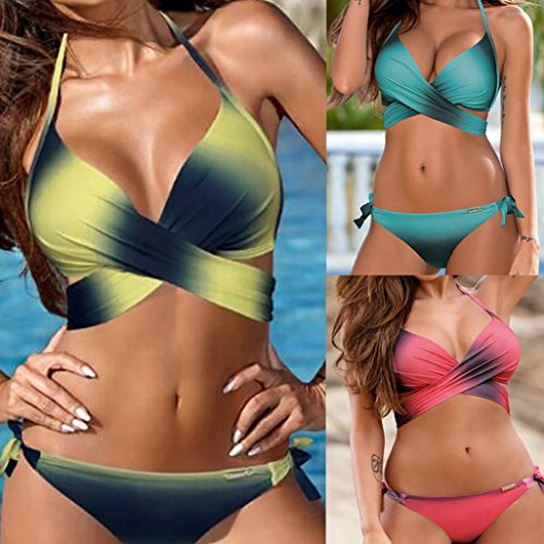 ba1a0464e42f Conjunto de bikini sexy mujer Traje de baño acolchado push-up de vendaje  ropa de playa Tops y Braguitas tangas Biquinis Bañador natación brasileños  ...