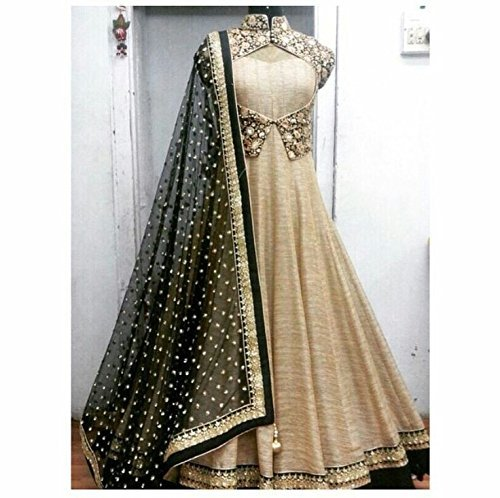 Lady Studio\' Womens Georgette & Silk Anarkali Dress Material (Golden & Black)