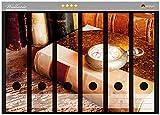 Wallario Ordnerrücken Sticker Antike Laterne mit Kerze Alten Büchern und Taschenuhr in Premiumqualität - Größe 36 x 30 cm, passend für 6 breite Ordnerrücken