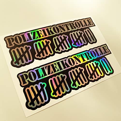 2 Aufkleber Set Polizeikontrolle Metallic Effekt Hologramm Oilslick Rainbow Flip Flop Shocker Hand Auto Aufkleber JDM Tuning OEM Dub Decal Stickerbomb Bombing Sticker Illest Dapper Fun Oldschool