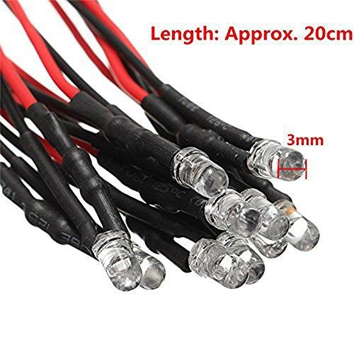 Zantec 10PCS 5-12V 3MM LED Tube luminescent avec des perles de lumière de fil DIY Light Accessoires