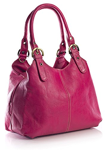 Big Handbag Shop, Borsa a mano donna Pink - Stitch Detail