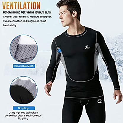 MeetHoo Men's Thermal Underwear Set, Compression Base Layer Sports Long Johns Fleece Lined Winter Gear Running Skiing 2