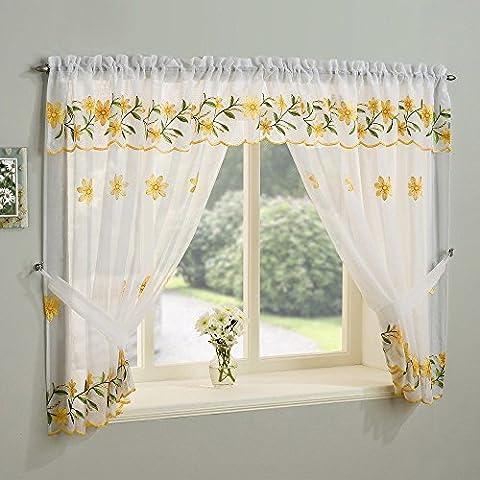 Daisy Jaune Voilage pour fenêtre Lot de 106,7cm de hauteur)
