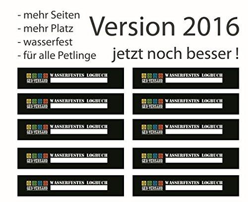 10 x wasserfestes Geocaching Petling Logbücher 2016 Version mehr Seiten Preform Logsheet Logbuch Petlinge Dosen Cache