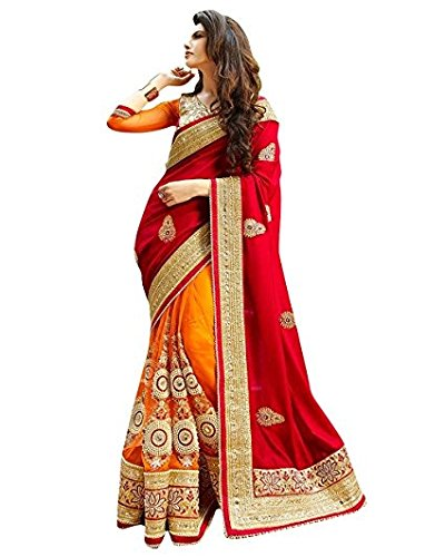 Pinkdot Women\'s Clothing Red And Orange Colour Saree Latest Design Wear Sarees Collection In Georgette And Net Material With Designer Blouse Free Size Beautiful Bollywood Saree For Women Party Wear O