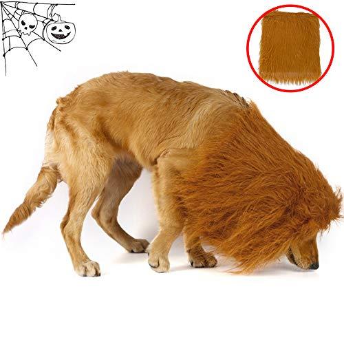 Hunde Trägt Kostüm Löwen - WMWJDQ Haustier Hund Katze Halloween Kostüme,Haustier Kostüm Löwe,Hund Löwe Mähne,Groß Pet Hund Katze Löwe Perücken Mähne Haar,Für Festival Party Kleidung Kostüm,Brown,Withoutears